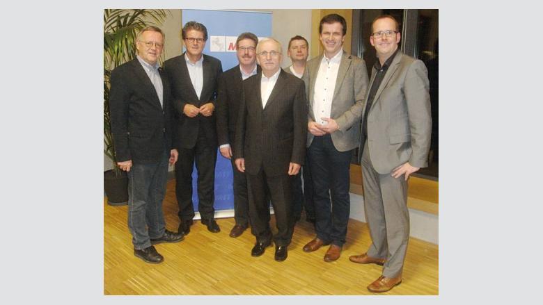 (v.l.n.r.): Dietrich Keck, Bürgermeister Guido Halfter, Jürgen Krenitz, Rolf Lippold, Jan Waltermann, Dr. André Berghegger MdB und Tim Eurlings.